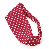 Red Polka Dot Design Cotton Fabric Headwrap Headband Hair Band
