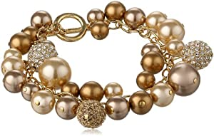 "Carolee ""Gold Pearl Basics"" Charm Toggle Bracelet"