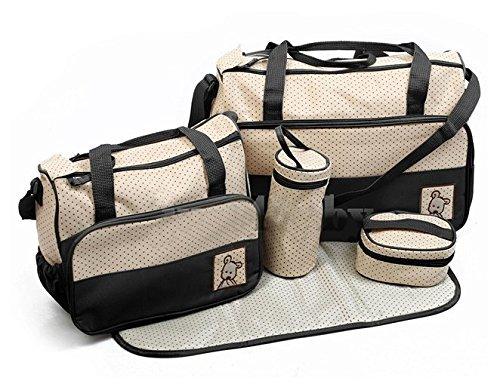 ANKKO-Set-5-multifunktionale-Baby-Windel-Nappy-Bag-Mami-Reise-Taschen-schwarz