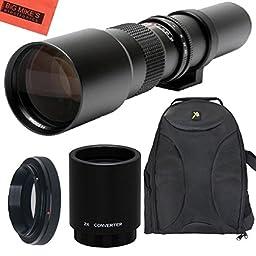 High-Power 500mm/1000mm f/8 Manual Telephoto Lens + Deluxe SLR BackPack for Canon Digital EOS Rebel T1i, T2i, T3, T3i, T4i, T5, T5i, T6i, T6s, SL1, EOS60D, EOS70D, 50D, 40D, 30D, EOS 5D, EOS1D, EOS5D III, EOS 5Ds, EOS 6D, EOS 7D, EOS 7D Mark II Digital SL