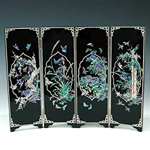 Wood Mini Folding Screen Wall Plaque Asian Oriental Home Decor Panel
