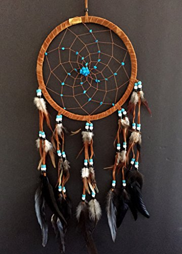 Dream Catcher DreamCatcher - BROWN SUEDE WITH TURQUOISE STONE - Handmade, LARGE SIZE - 28