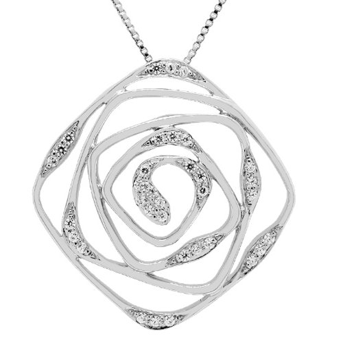 Sterling Silver Created White Sapphire Flower Pendant Necklace , 18