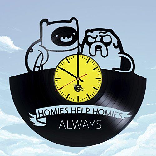 Adventure-Time-with-Finn-Jake-Handmade-Vinyl-Record-Wall-Clock-Fun-gift-Vintage-Unique-Home-decor-Art-Design-Retro-Interier