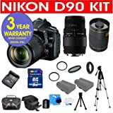Nikon D90 12.3 MP Digital SLR Camera with 18-55mm f/3.5-5.6G VR Lens + Sigma 70-300MM Macro Zoom Lens + Rokinon 500mm F/8 Lens with 2x Converter (=1000mm) + High Capacity Li-Ion Battery + 4 GB Memory Card + 50″ Titanium Anodized Tripod + 6 Piece Accessory Kit + Deluxe Padded Camera Bag + Multi-Coated Glass UV Filter + Multi-Coated Glass Polarizer Filter + 3 Year CELLTIME Warranty Repair Contract