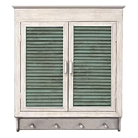 Wall Cabinet Shelves Louvered Doors Distressed Washed Finishes (White & Distressed Green)