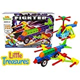 LITTLE TREASURES Fickter Brick-Clicks Helicopter - Fighter Plane 138pcs Unlimited Creativity - Unlimited Fun - Educational Play Toys Building Blocks Set - Great For Boys and Girls