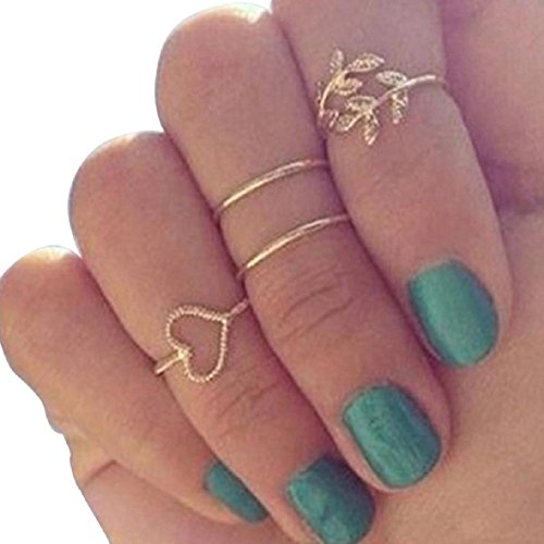 Susenstone® Fashion Gold Plated Leaf Heart Joint Knuckle Nail Ring Set of Four Rings