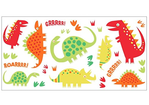 Lunarland DINOSAURS RED 24 Wall Decals Green Yellow T-Rex Room Decor Stickers Dino Kids WS