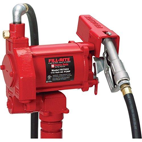 Fill-Rite FR700V Fuel Transfer Pump, 12' Delivery Hose, Manual Release Nozzle - 115 Volt, 20 GPM (Fuel Pump Transfer 20 Gpm compare prices)