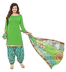 Vidhya LifeStyle Women's Glaze Cotton Patialas Unstitched Dress Material(Green)