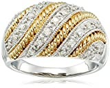 Twist with White Diamond Yellow Plating Over Sterling Silver Ring (1/4cttw, I-J Color, I2-I3 Clarity)