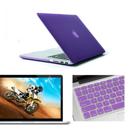 "NovaMass 3 in 1 (Value Pack) Matte Rubberized Hard Case Cover Shell Skin for 13.3"" inches Macbook Pro Retina Aluminum Unibody - With Silicone Protective Keyboard Skin Cover, Ultra Clear Screen Protect"