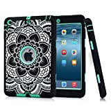 Hocase Double Layer Rugged Hard Rubber Case for Apple iPad Mini / 2 / 3 - Black Flower / Mint Green