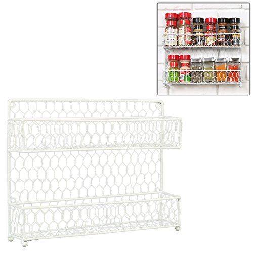 Country Style White Dual Tier Wire Kitchen Counter-top or Wall Mount Spice Rack Jars Storage Organizer (Wall Mountable Wire Shelf compare prices)