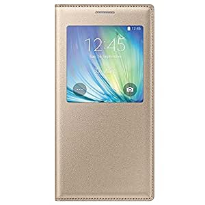 Kapa Window View Leather Flip Case Cover for Samsung Galaxy On7- Gold