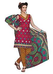 Araham Pink and Orange Printed 100% Cotton Unstitched Salwar Suit Dress Material
