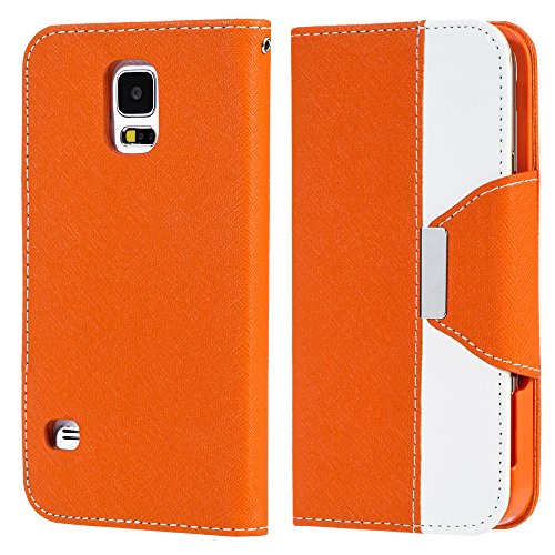 Mylife Pumpkin Orange And Fair White - Koskin Faux Leather (Card, Cash And Id Holder + Magnetic Detachable Closing + Hand Strap) Slim Wallet For New Galaxy S5 (5G) Smartphone By Samsung (External Rugged Synthetic Leather With Magnetic Clip + Internal Secu front-352148
