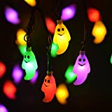 LEVIITEC Halloween String Lights, Solar Powered Outdoor Halloween Decorations, 30 LED 8 Modes Ghost Steady / Flickering Lights for Party Patio Decor [Light Sensor] [Waterproof] 19.7ft Multicolor