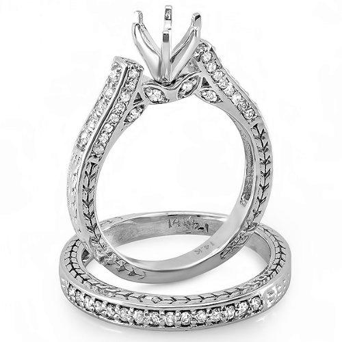 0.75 Carat (Ctw) 14k White Gold Round Diamond Ladies Bridal Semi Mount Ring Engagement Set with Matching Band 3/4 Ct (No Center Stone)