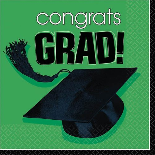 AMSCAN INC. Green Graduation Beverage Napkins  - 1