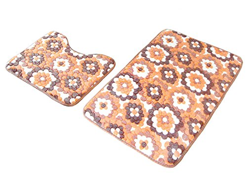 EachWell Two Pieces Soft Non-slip Polyester Bath Mat Absorbent Mold Resistant Bathroom Toilet U Mat Sets Door Mats Orange Flower