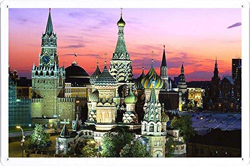 ARMVAS DÉCOR Metall plakat poster Blechschild Wandschild 20x30cm - Stadt Moskau Russland Kreml 812