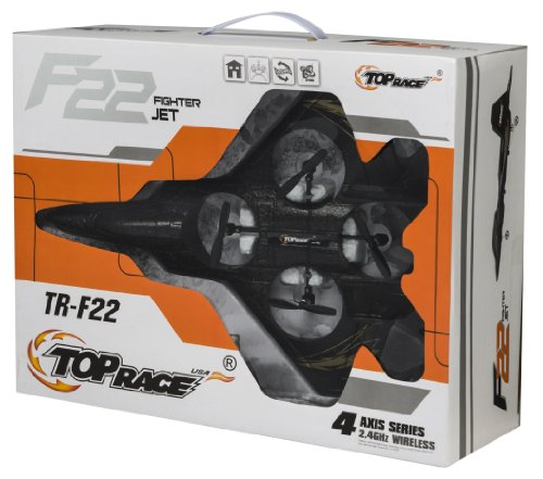 Top Race F22 Fighter Jet 4 Channel RC Remote Control Quad Copter RTF - Black