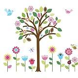 CherryCreek Decals Giant Spring Flower Garden & Tree Baby/Nursery Wall Sticker Decals For Boys And Girls (Tree...