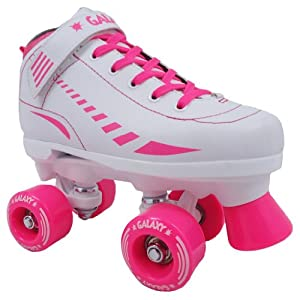 Epic Galaxy White with Pink Kids Girls Childrens Quad Indoor/Outdoor Roller Skates