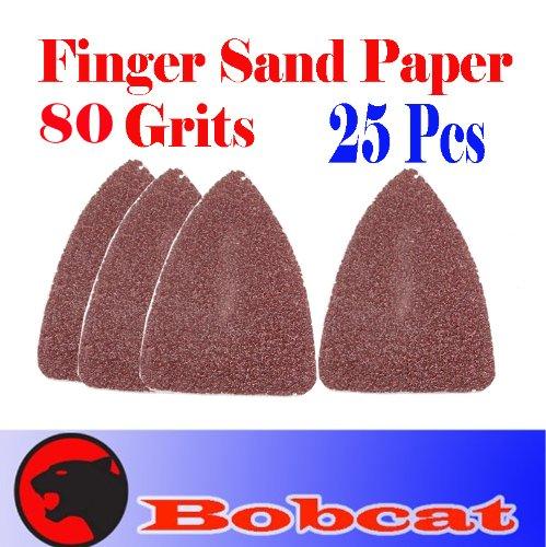 Pack 25 Sandpaper 80 Grits Sand Paper Finger Detail W/ Velcro Oscillating Multi Tool Saw Blades For Fein Multimaster Bosch Multi-X Craftsman Nextec Dremel Multi-Max Ridgid Dremel Chicago