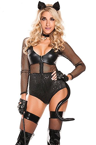 [JE Sexy V Neck Long Sleeve Fishnet Midnight Cat Role Play Halloween Costumes (Small, Black)] (Shrek Dance Costume)