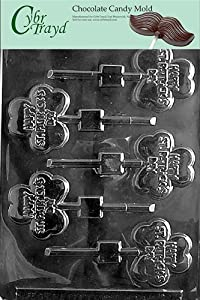 Cybrtrayd P016 Happy St. Patrick's Day Clove Chocolate Candy Mold with Exclusive Cybrtrayd Copyrighted Chocolate Molding Instructions plus Optional Candy Packaging Bundles
