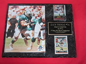 Zach Thomas Miami Dolphins 2 Card Collector Plaque w 8x10 Photo by J & C Baseball Clubhouse