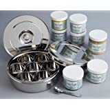 "Indian Spices (7) & Spice Box Organizer by 'Ajika"" - Stainless Steel Masala Dabba (a gourmet international food gift)"