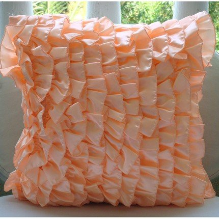 Vintage Peach Sorbet - 16X16 Inches Square Decorative Throw Peach Satin Pillow Covers With Satin Ruffles front-418791