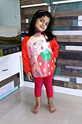 PIGLOO Kids Long Sleeved Waterproof Smock Apron Bib for Painting, Art & Craft, Eating, Age: 3-5 Years (Pattern: Strawberry)