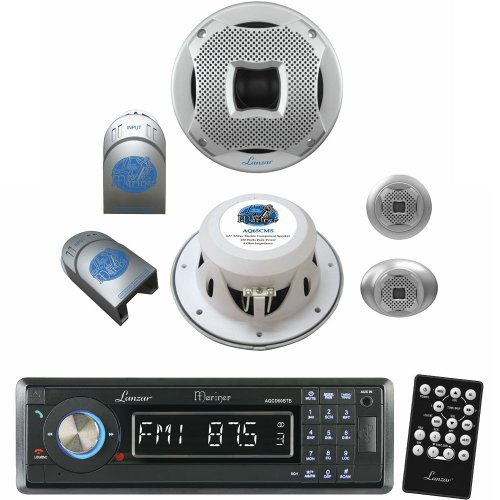 Lanzar Marine Receiver And Speaker System Package For Your Boat, Pool, Deck, Patio, Etc. - Aqcd60Btb Am/Fm-Mpx In-Dash Marine Detachable Face Radio Cd/Sd/Mmc/Usb Player & Bluetooth Wireless Technology - Aq65Cms 500 Watts 6.5'' 2-Way Marine Component Syste
