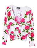 PrettyGuide Women V Neck Rose Floral Print Cardigan Sweater Knitwear Cotton Blouse Tops