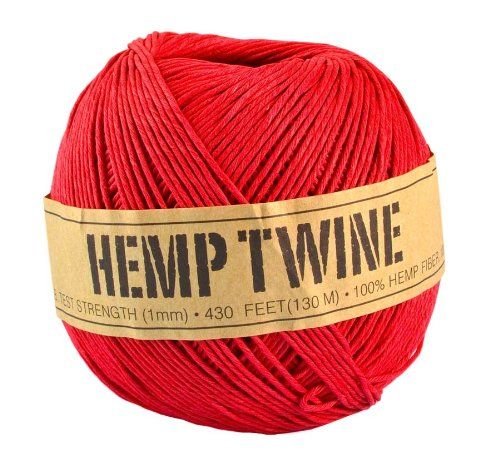 Red Hemp Twine - 20 LB. Test - 1mm - 430 Feet - 100g - 100% Hemp Fibers