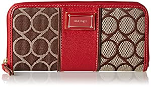 Nine West 9S Jacquard Zip Around Wallet,Brown Multi,One Size