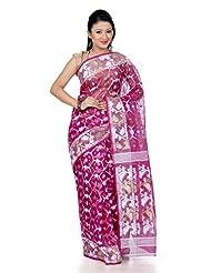B3Fashion Magenta Pink Traditional Handloom Dhakai Jamdani Silk Saree With Beautifully Weaved Geometrical Pattern...