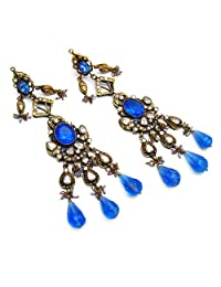 49.60 Grams White Cubic Zirconia & Blue Glass Gold Plated Brass Victorian Earrings