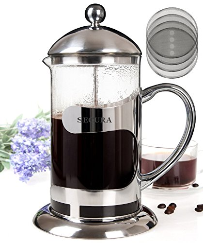 Secura 1000ML Glass French Press Coffee Espresso Maker with Stainless Steel Plunger Lid & Heat Resis