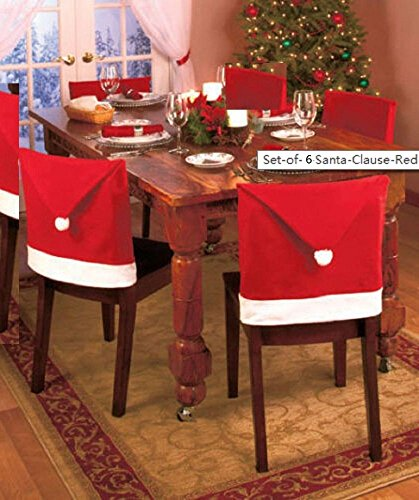 Santa Claus Red Hat Chair Back Covers for Christmas