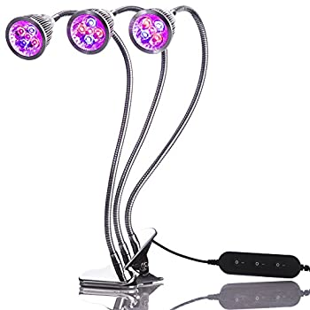 NEW Triple Head LED Grow Light, Desk Clip Lamp with 360 Flexible Gooseneck and triple independent switch. Includes bonus indoor gardening ebook. By TinyJungle