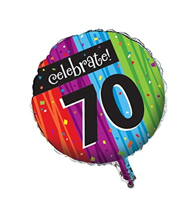 Creative Converting Party Decoration Round Metallic Balloon, Milestone Celebrations 70th