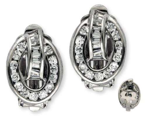 Cubic Zirconia Baguette Round Diamond Circular Silver Earrings (Nice Holiday Gift, Special Black Firday Sale)