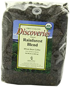 First Colony Organic Fair Trade Whole Bean Coffee, Rainforest, 24-Ounce from White Coffee Corporation