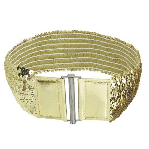 Woman Dress Shirt Decor Fashion Gold Tone Sequin Elastic Cinch Belt